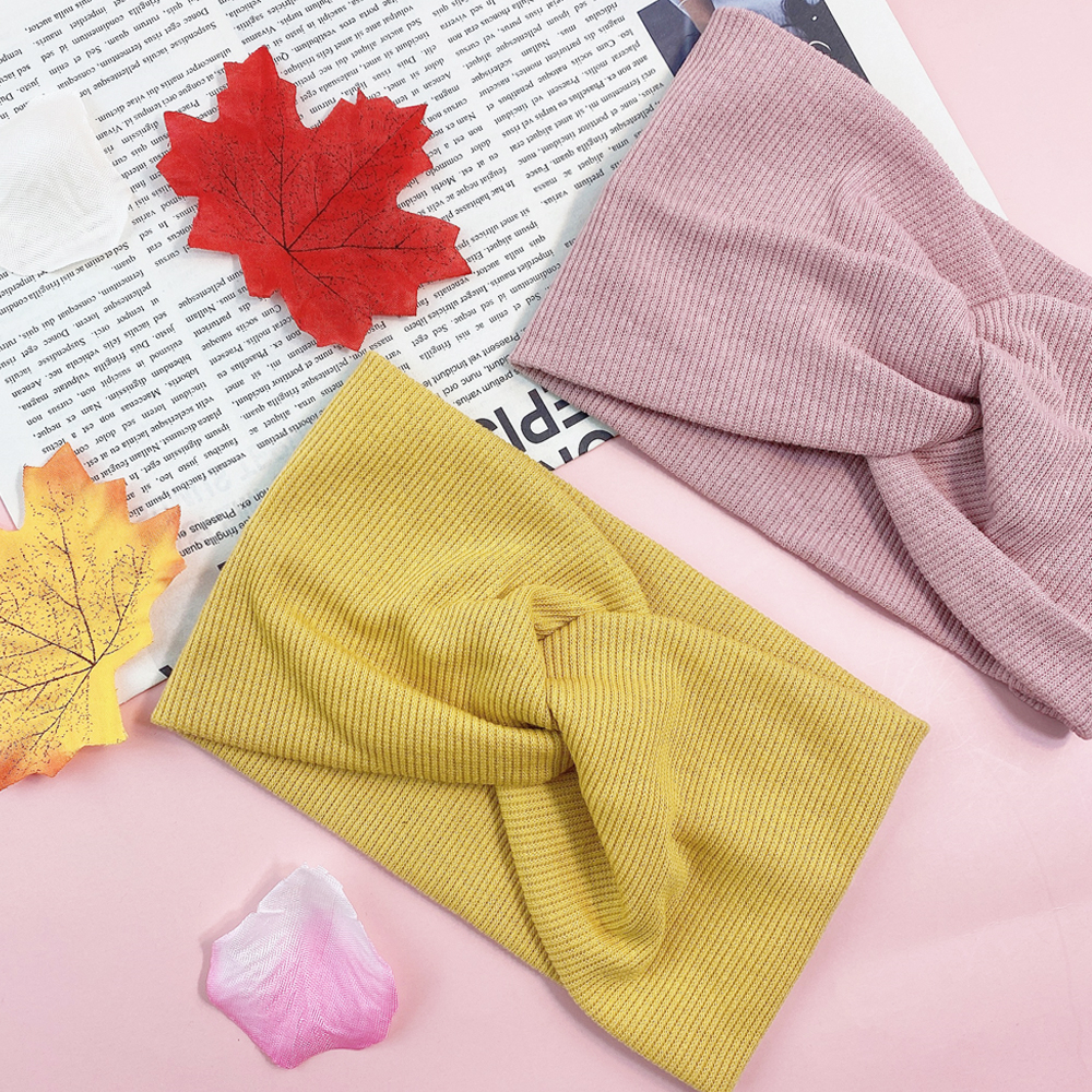 Elastic Multiple Colors Cotton Headband For Women Girl Baby Solid Knot Hair Accessories Wide Turban Windproof Headband
