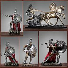 Vintage Romeinse Warrior Karakter Standbeeld Ambachten Hars Home Decor Accessoires Woonkamer Decoratie Familie Beeldjes Gif