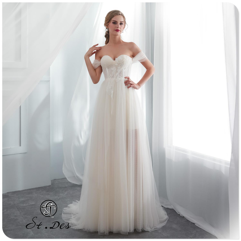 S.T.DES Wedding Dress 2020 Ivory A-line Robe Sexy Boat Neck Off Shoulder Floor-length Elegant Wedding Dress Wedding Gown