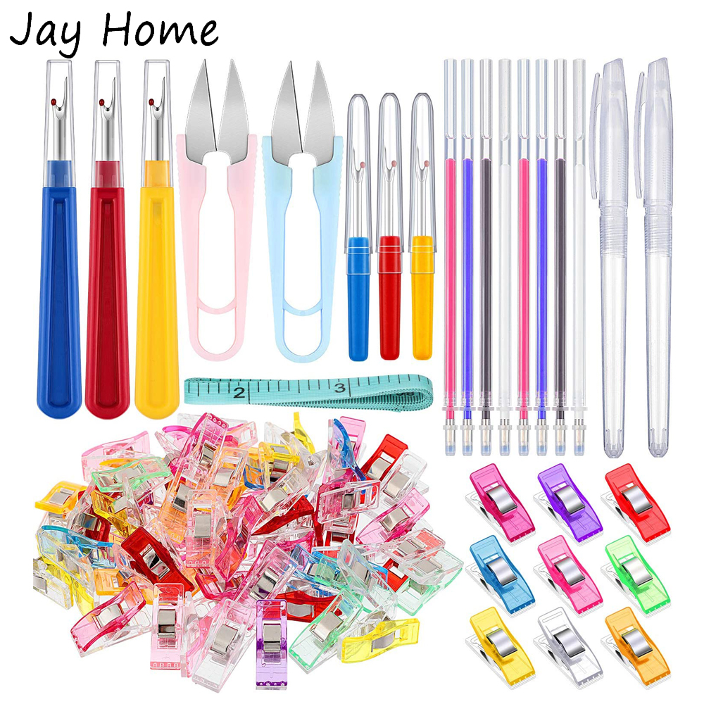 29PCS Hand Sewing Tools Set Quilting Sewing Clips & Seam Rippers & Heat Erasable Fabric Marking Pen for Embroidery Tailoring