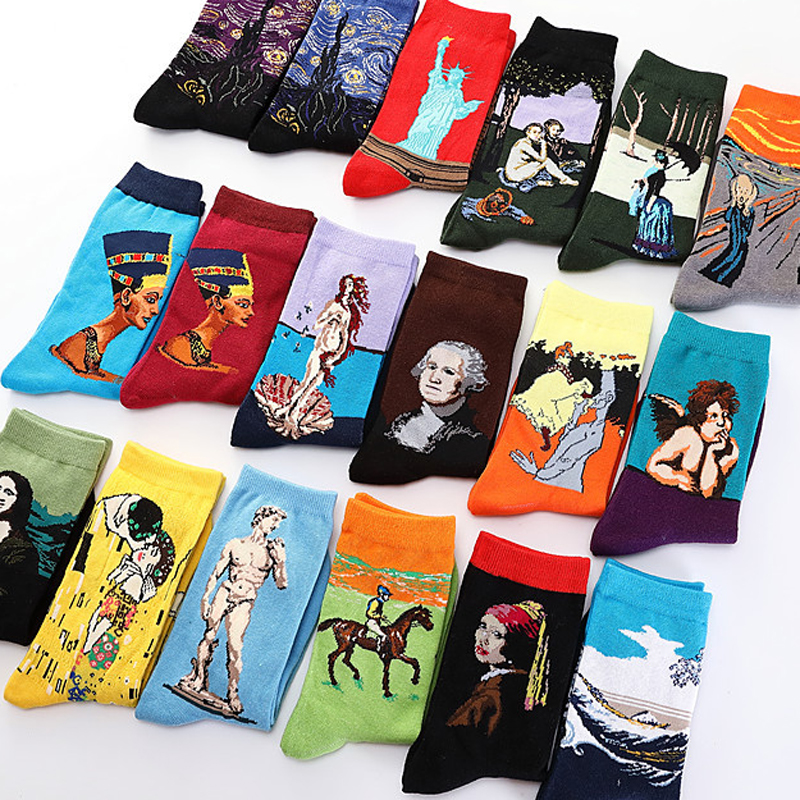 One Pair Hot Dropshipping Autumn Winter Retro Women New Art Van Gogh Mural World Famous Oil Painting Series Female Funny Socks