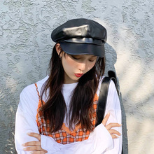 PU leather octagonal cap Women Winter and autumn cap casual beret hat artist painter cap Female Fashion Newsboy hats