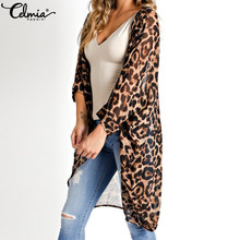 Celmia 2020 Summer Beach Leopard Printed Kimono Cardigan Women Cover Up Long Top