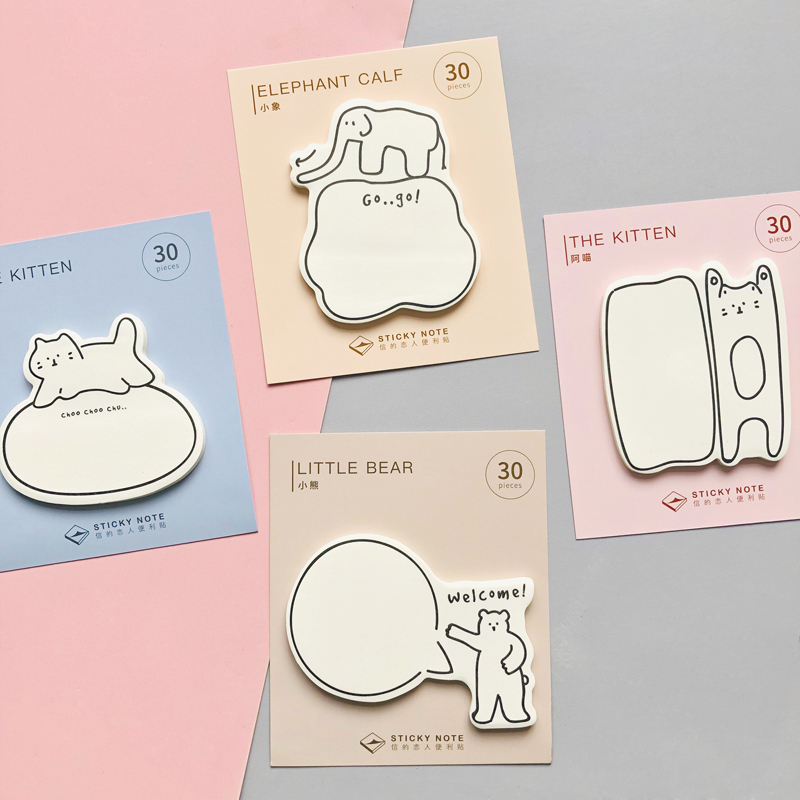 30 Sheets Lovely Cats Elephant Bear StickyNote Memo Pads Stationery Notepad