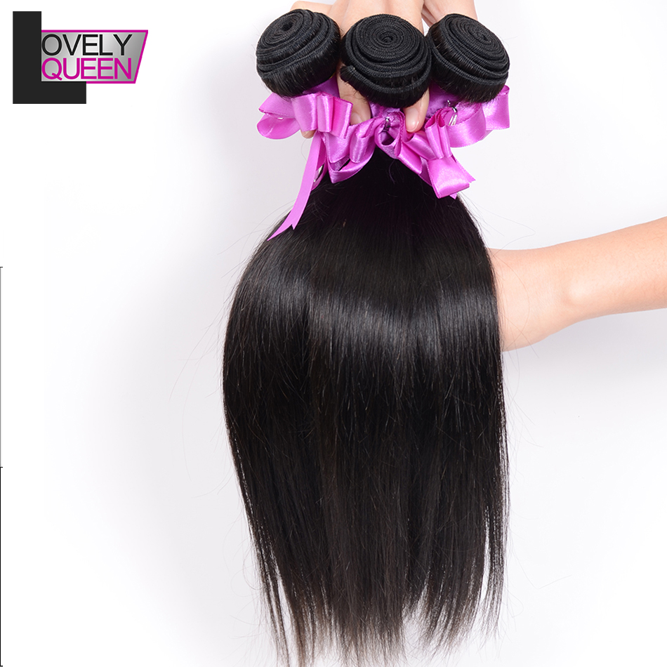 Lovely Queen Hair  Indian Straight Hair Bundles Human Hair 3 Bundles Weaves Non Remy Natural Color