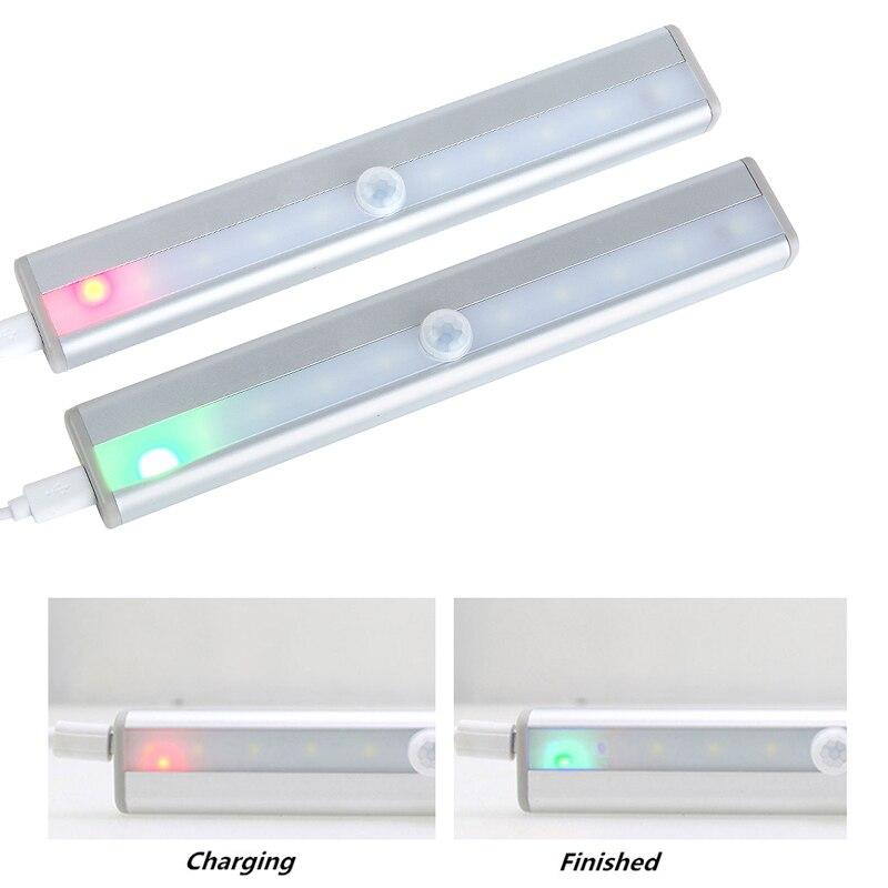 10 светодиодный беспроводной USB Перезаряжаемый датчик движения светильник для шкафа под счетчиком освещение для шкафа Магнитный ночной Све...