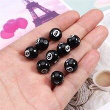50 unids/lote negro acrílico billar forma redonda cuentas de accesorios espaciador perlas para la fabricación de la joyería DIY resultados
