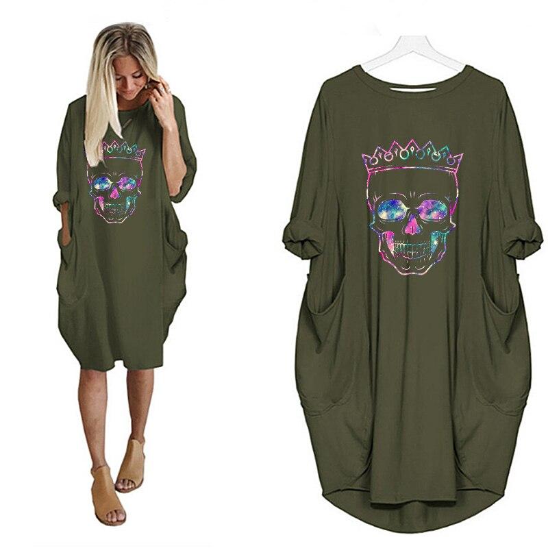 Women Loose Dresses Long Sleeve Dress Plus Size Harajuku Skull Print Casual Robes Femme Vintage o Neck Pocket Party Vestidos 235