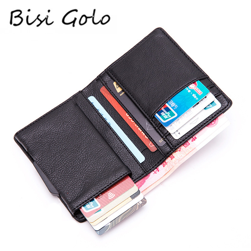 BISI GORO 2019 PU Leather RFID Fashion Wallet Aluminum Box High Quality Multifunctional Business Card Case Pop Up Card Holder