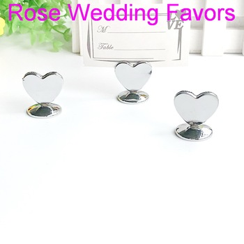 (100pcs/Lot)FREE SHIPPING+Heart Design Chrome Place Card Holders Name Holder Wedding Table Decoration Favors