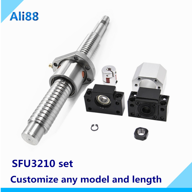SFU3210 Ball Screw 32 Dia 10 Pitch Ballscrew With Ball Nut 1700/1750/1800 Mm Long With BK/BF25 Set And Coupling D40 L65:20*17mm