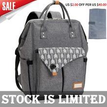 Lekebaby sac à couches gris, sac à dos extensible pour maman et fille, sacoche fourre tout de maternité, organisateur de bébé