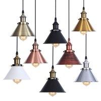 Vintage przemysłowe oświetlenie wiszące Retro lampa sufitowa złoty żelaza abażur Nordic E27 Edison lampa do jadalni sypialnia restauracja w Wiszące lampki od Lampy i oświetlenie na
