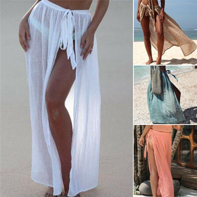 Hirigin Sexy Women Bikini Cover Ups Swimwear Sheer Beach Maxi Wrap Skirt High Waist Lace-up Split Beachwear Cover Ups Sarong New