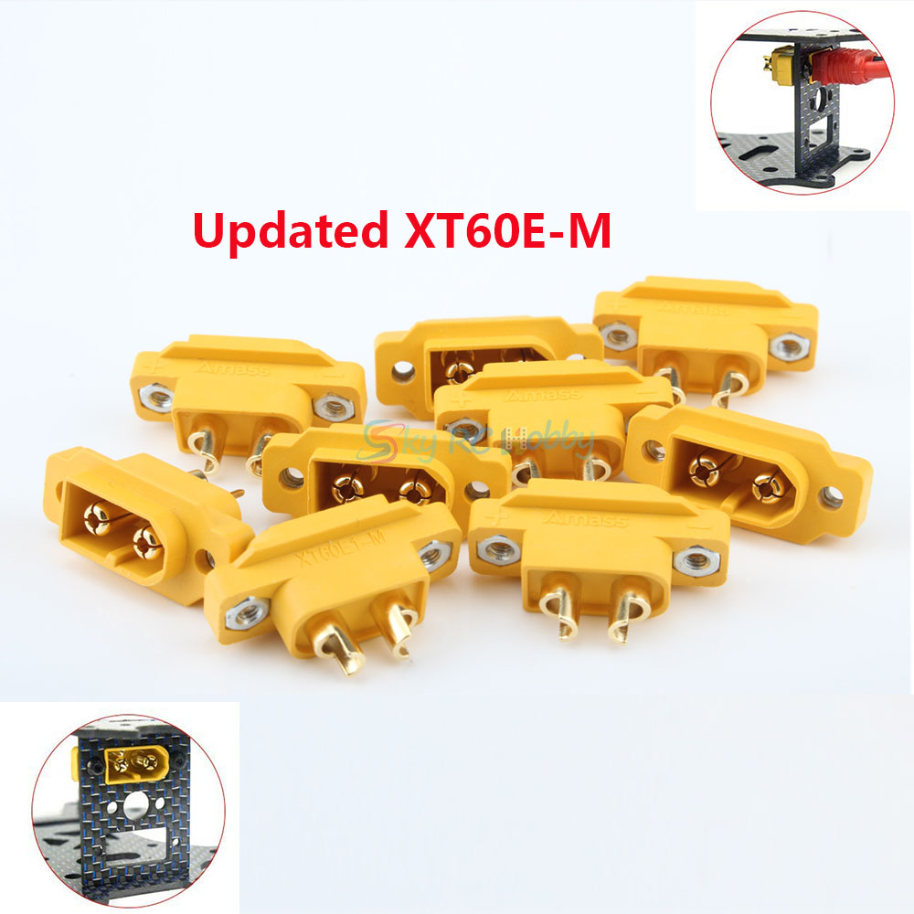 10Pcs Updated AMASS XT60E-M Mountable XT60 Male Plug Connector For Racing Models Multicopter Fixed Board DIY Spare Part