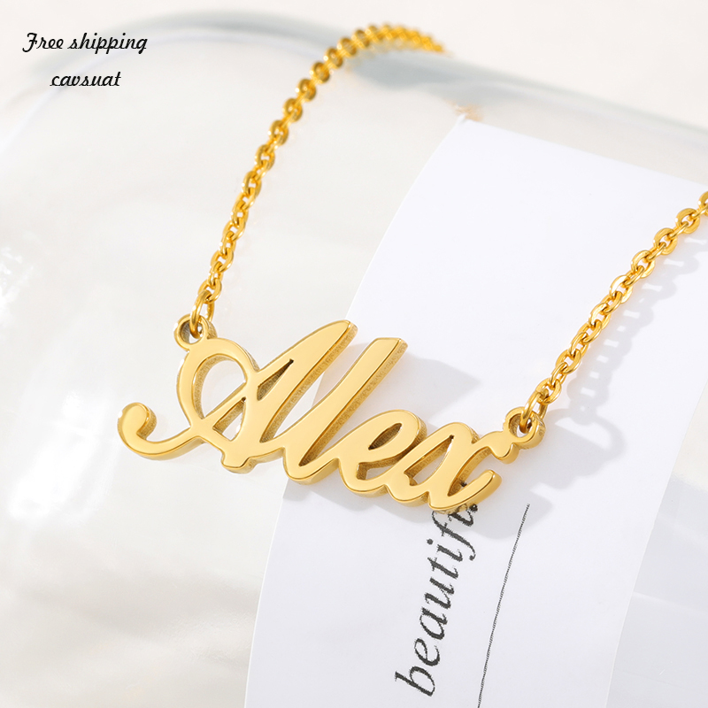 Fashion Custom Name Pendant Necklace Stylish Cursive Arabic Crown Heart Nameplate Necklace Stainless Steel Birthday Gift(China)
