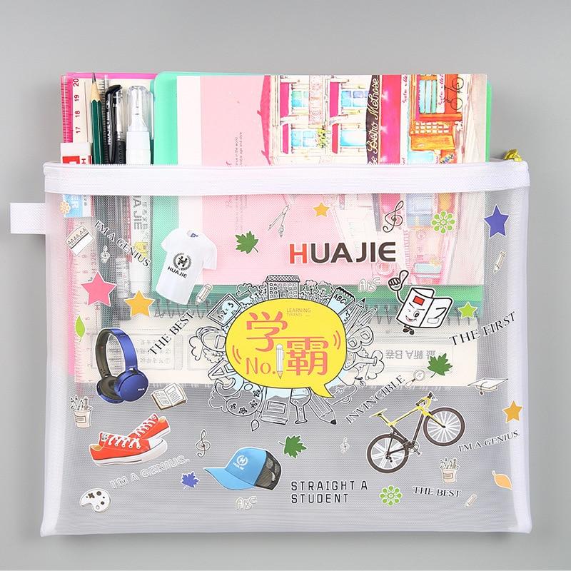 A5/a4 Zipper File Bag Transparent Gauze Nylon Student Homework Bag Paper Folder Information Kit Classified Storage Bag Folders