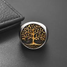 Silver Gold Color Big Round Tree of Life Ring for Men Women Trendy Stainless Steel Jewelry Ring New Hiphop Rock Punk Party Gift недорого