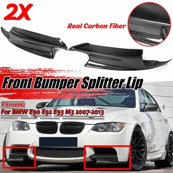 Left+Right E90 E92 Real Carbon Fiber Car Front Bumper Splitter Lip Diffuser Guard Protection For BMW E90 E92 E93 M3 2007-2013 image