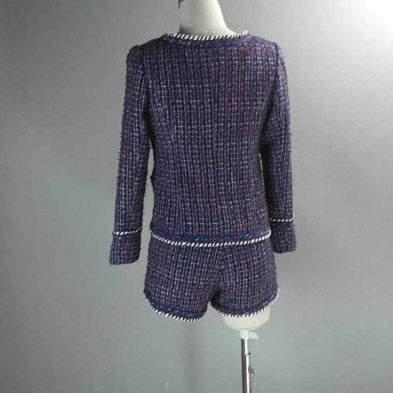 紫色の女性のツーピースの衣装ブランドレディースツイードジャケットショーツセット女性 O ネックコート小さな香りジャケット織女性スーツ