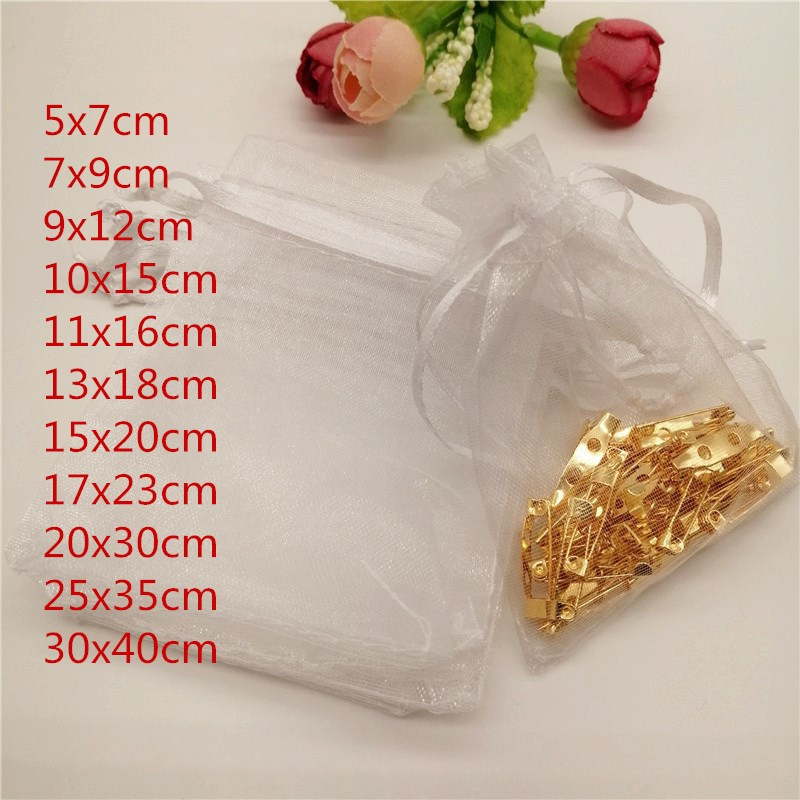 100pcs White Organza Jewelry Bags Pouch Drawstring Bag Jewelry Packaging Display 5x7/7x9/13X18cm Packaging For Jewelry Pouches
