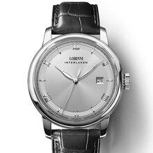 LOBINNI Mens 50M Waterproof Leather Strap Business Single Calendar Automatic Mechanical Dress Wrist Watch relogio masculino