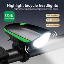 Phmax conjunto de luz da bicicleta à prova dwaterproof água mtb chifre luz usb recarregável solar led farol aviso segurança ciclismo lanterna traseira