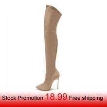 2017 new style women boots shoes over the knee thigh high spring fashion pointed heels