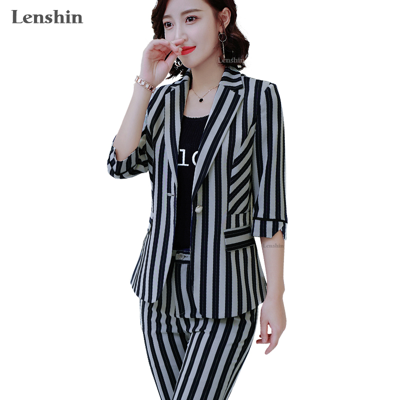 Lenshin 2 Pieces Set Pant Suit Summer Wear Fashion Style Women Office Lady Work Half-sleeve Striped Jacket With Trouser