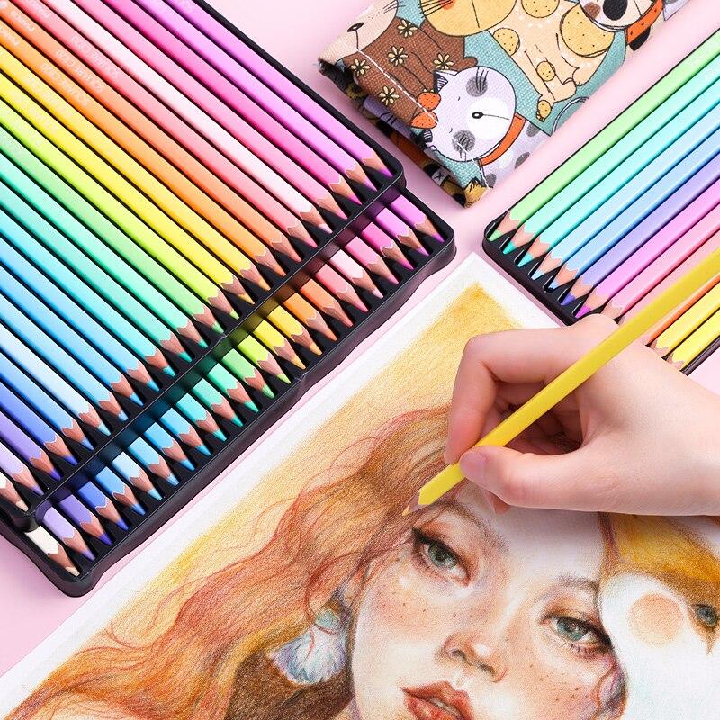Andstal marco 12/24/48 cores na moda lápis de cor pastel corpo quadrado lápis de cor de óleo profissional lápis colorido para a escola