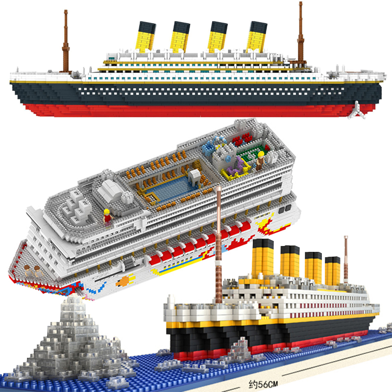 Luxury Cruise Liner Ship Big White Boat Diamond Mini Building Micro Blocks Brick Assembled Toy Kids Gift ZRK7800