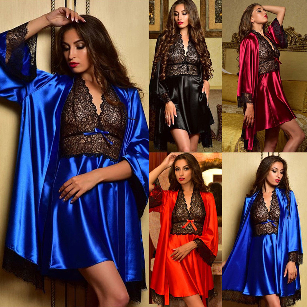2PC Sexy Nightwear Women Robe Satin Lounge Lace Sleepwear Bielizna Nocna Lingerie Nightdress Pajamas Sets Bathrobe+Night Dresses