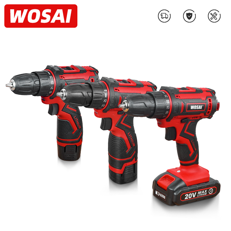 WOSAI 12V 16V 20V Cordless Drill Electric Screwdriver Mini Wireless Power Driver DC Lithium-Ion Battery 3/8-Inch