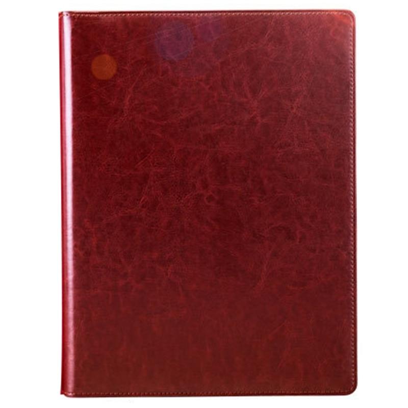 Dark Brown Office Folder A4 Multi-Function Binder Plywood Pu Belt Manager Pin Pin Folder Information Booklet