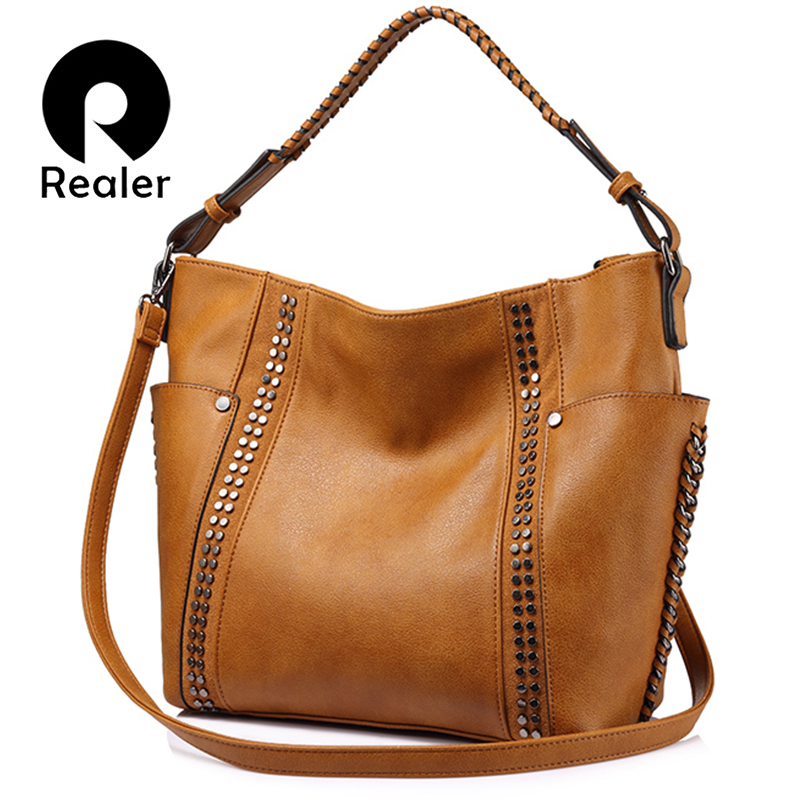 REALER women handbag with rivets, female large tote bag ladies shoulder crossbody bags, fashion brown purses and handbags
