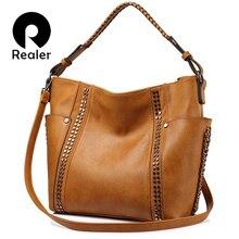 REALER women handbag with rivets, female large tote bag ladi