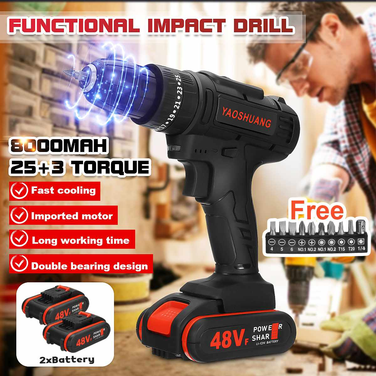 48V 2 Battery 3/8'' Cordless Rechargeable Electric Drill 2 Speed Impact Hammer Driver Battery Drill With 10Pcs Drill Bits Set