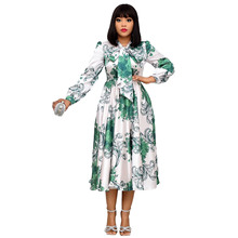 Midi Dress Plus-Size Spring African Casual Women Ladies Autumn Pleated Beach-Party-Robe