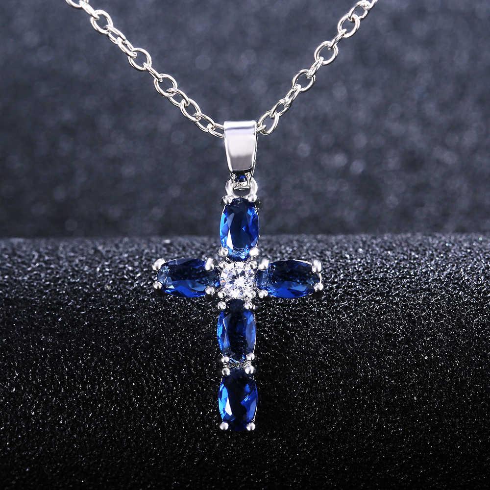 Huitan موضة البيضاوي الأزرق حجر الصليب معلقة حساسة النساء قلادة اليومية ارتداء الذكرى هدية الكريسماس مجوهرات عالية الجودة