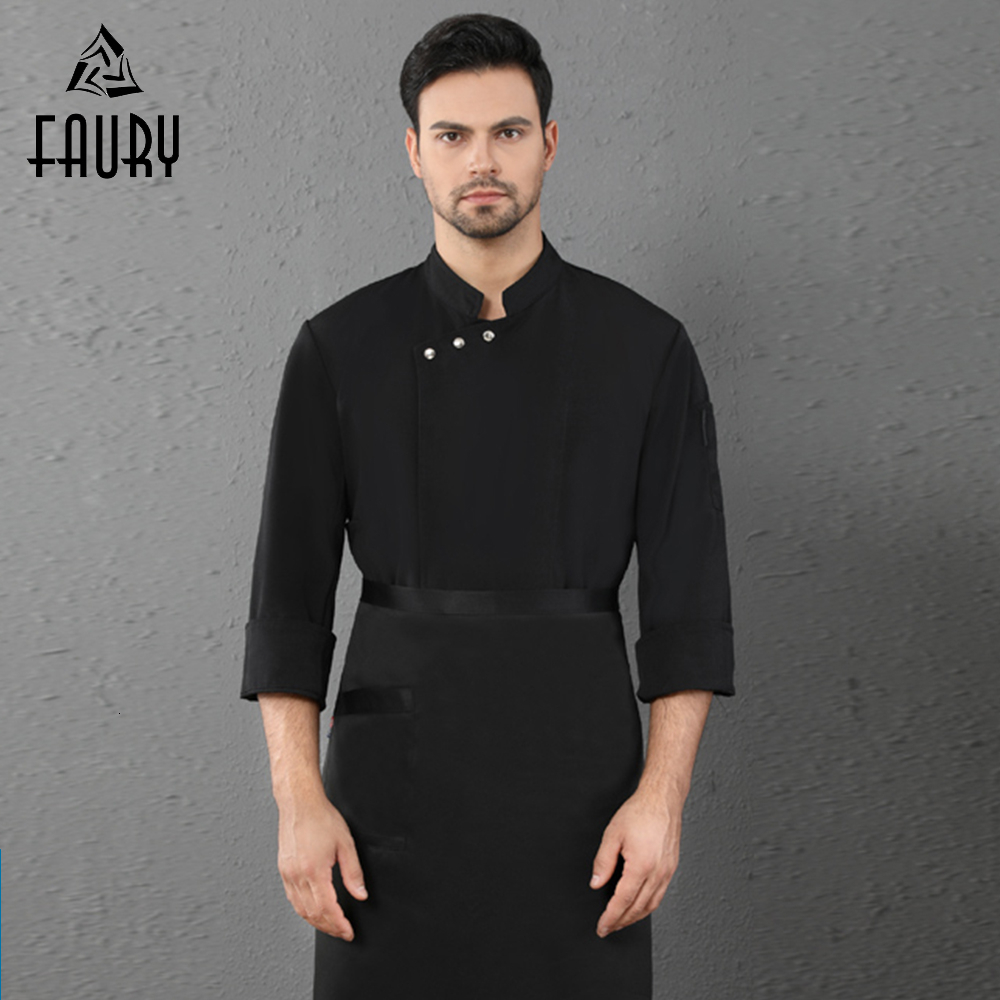 High Quality Oblique Collar Long Sleeve Chef Jacket Uniform Kitchen Restaurant Hotel Cafe Bakery Barber Waiter Cook Clothes