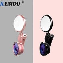 Kebidu Universal anillo de luz autofoto HD de ojo de pez gran angular Macro lente Flash de cámara Led teléfono fotografía para IPhone Samsung