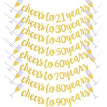 Cheers To Years Banner Garland for 21st 30th 40th 50th 60th 70th 80th Birthday Wedding Anniversary Party Decoration Supplies