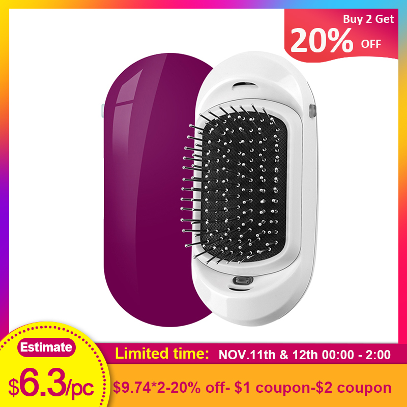Negative Ionic Hair Brush,Electric Portable Hair Comb Vibration Scalp Massage Straight Hair Brush Take Frizz And Flyways Comb