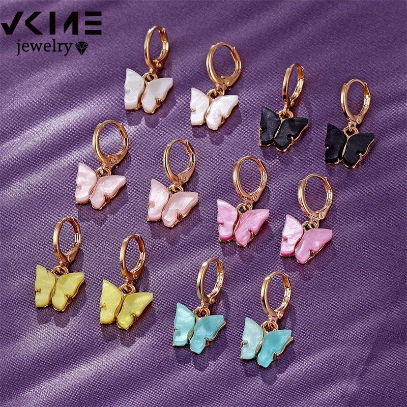 Fashion Butterfly Earrings For Women Drop Earrings Fashion Jewelry Cute Colorful Acrylic Earrings New Statement Girls Party Gift