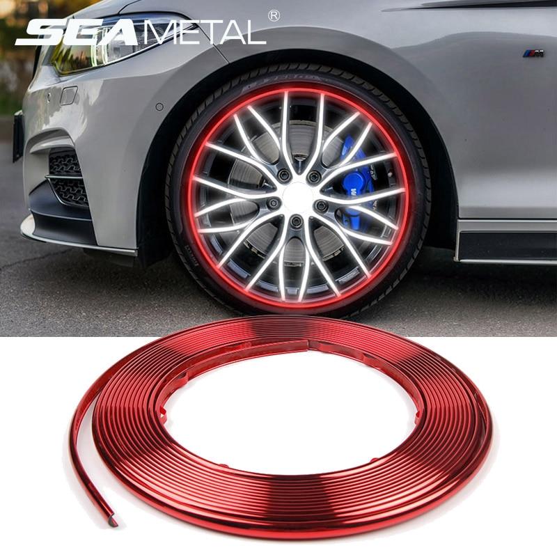 Декоративные наклейки для автомобильных колес, хромированные наклейки для обода шин, защитная полоса 8 м, декоративные аксессуары для отдел...