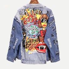 PERHAPS U Women Blue Denim Loose Punk Jacket Button Pocket Turn Down Collar Letter Graffiti Print Hole Hip Hop Style C0221