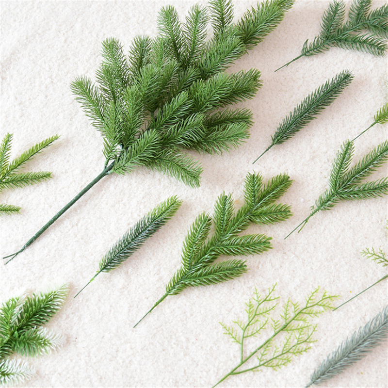 10PCS Pine Needle Artificial Fake Plant Artificial Flower Branch For Christmas Tree Decoration Accessories DIY Bouquet Gift