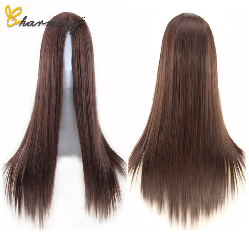 CHARMING Women Natural Colors Long Straight Clip Closure Hair Extension High Temperature Synthetic Wig Clip Female Wig