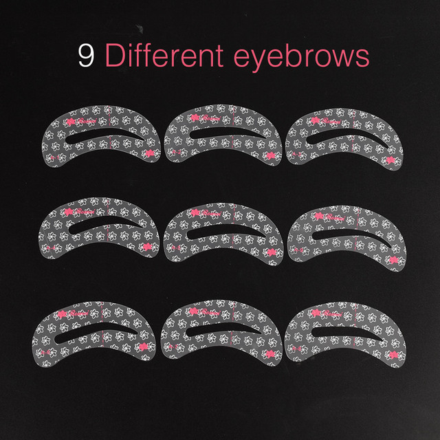 9 Pcs Reusable New Eyebrow Template Stencil Tool Makeup Eye Brow Template Shaper Make Up Tool Eye Brow Guide Template DIY Beauty 2