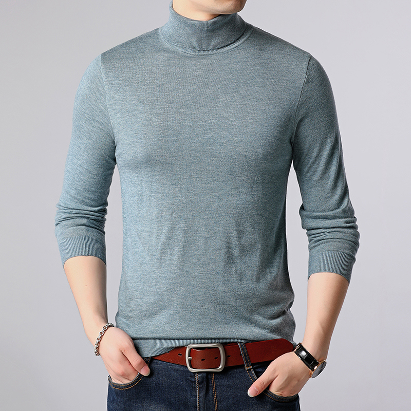 FAVOCENT Mens Sweater Pullovers Turtleneck Knitted Woolen Korean-Style Male Winter Fashion